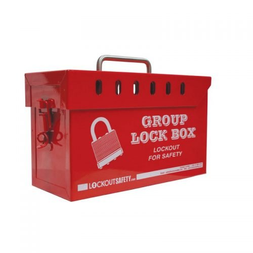 Lockout Safety Portable Red Group Lockout Box (13 locks)