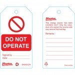 Master Lock Standard Lockout Tags  - 'Do Not Operate' Or Similar