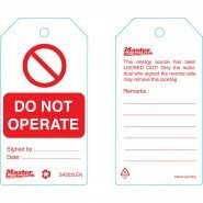 Master Lock Standard Lockout Tags  – 'Do Not Operate' Or Similar