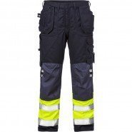 FRISTADS Trousers 2074 ATHS Hi-Vis Yellow/Navy &#8211; Class 1, 16.8 cal/cm<sup>2</sup>