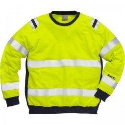 FRISTADS Sweatshirt 7076 SFLH Hi-Vis Yellow/Navy &#8211; Class 1, 18.9 cal/cm<sup>2</sup>