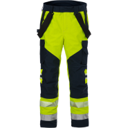FRISTADS GORE-TEX Flamestat Trousers Hi-Vis cl 2 2095 GXE Yellow/Navy – Class 2, 49.1 cal/cm²